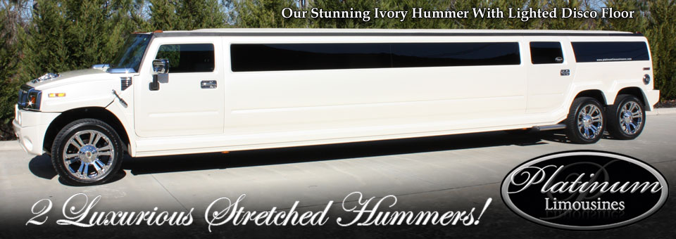 Our Ivory 2008 Hummer limousine with disco floor